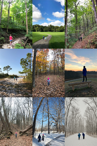 Collage of nine images of children hiking.