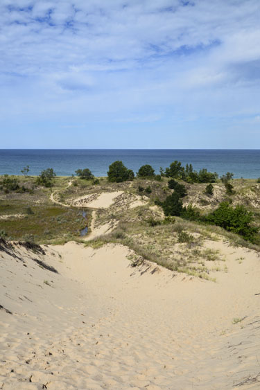 View of Lake Michigan from Blue Jay Trail.