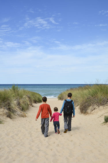 Three siblings holding hands while walking towards the beach.