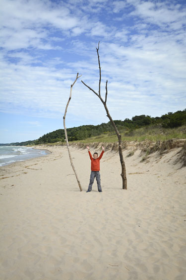 Boy standing on beach between two large pieces of driftwood.