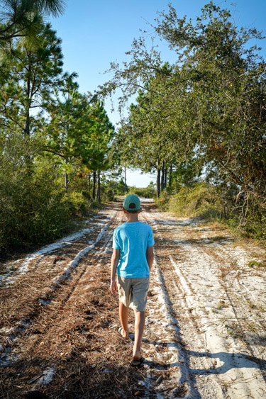 HIking to the beach at Florida's Camp Helen State Park