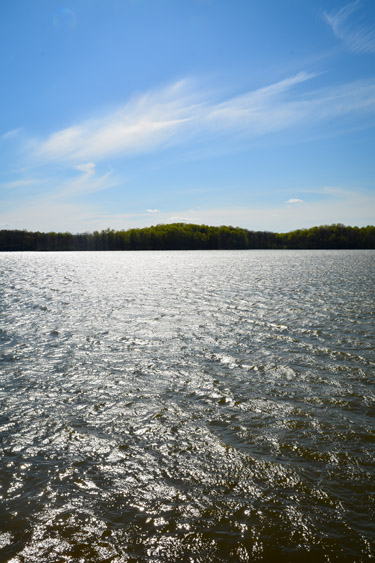 View of Eagle Creek Reservoir from park hiking trail