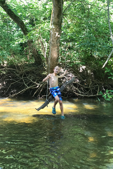 Creek Stomping in Fall Creek at Fort Harrison State Park