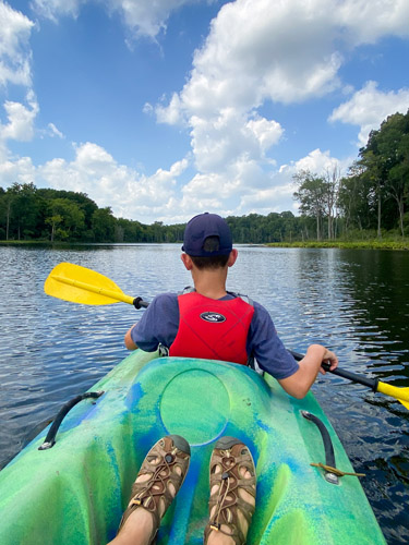 Kayaking on Sand Lake in Indiana's Chain O' Lakes State Park