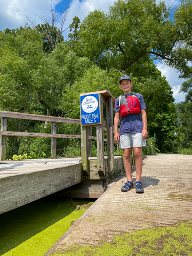 Chain O' Lakes State Park Paddle Trail Mile Marker 5, the challenge endpoint.