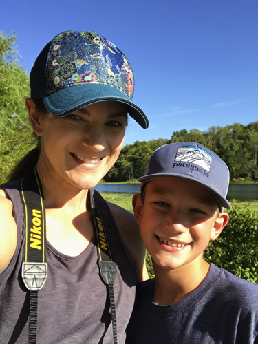 Mom and son after completing Indiana's Chain O' Lakes 9 Lake Paddle Challenge.