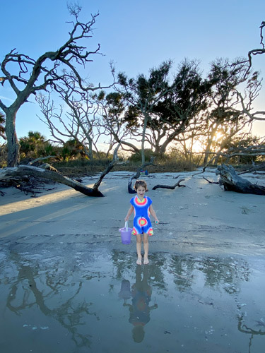 Young girl standing on Driftwood Beach at sunset.