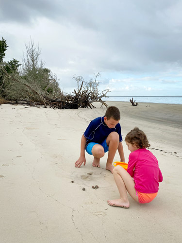 Boy and girl playing in the sane on Jekyll Island's St Andrew's Beach West.