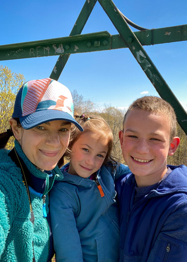 Mother, son and daughter on fire tower.