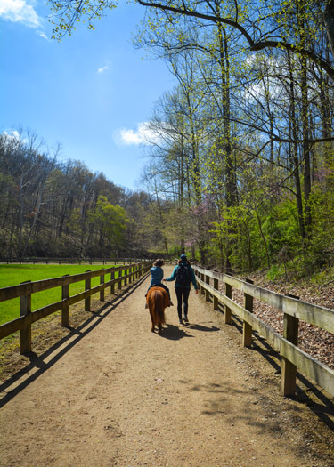 Mom leading daughter on a pony ride at Brown County State Park.