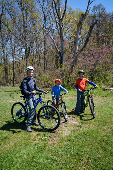 Three young brothers on mountain bikes.