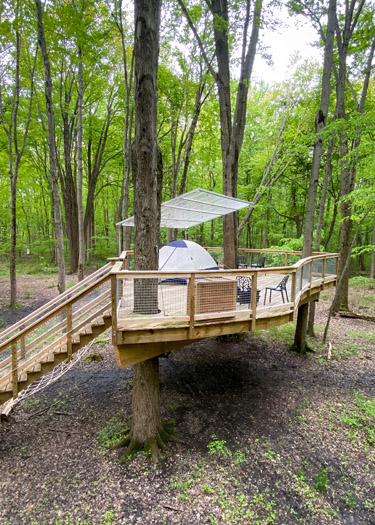 The Lair Tent Platform in the Oak Openings Treehouse Village.