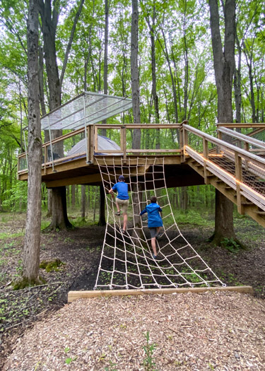 Two boys climbing a rope ladder up to a tent platform in the Cannaley Treehouse Village.