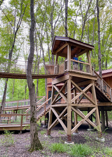 Two boys standing at the top of a viewing platform in the Toledo Oak Openings Cannaley Treehouse Village.