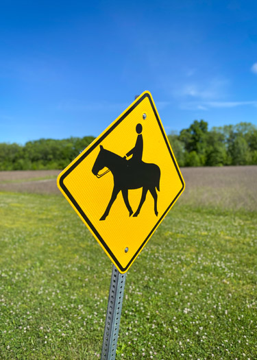 Trail ride crossing sign