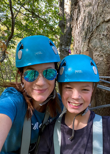 Selfie of mom and son at Koteewi Aerial Adventures