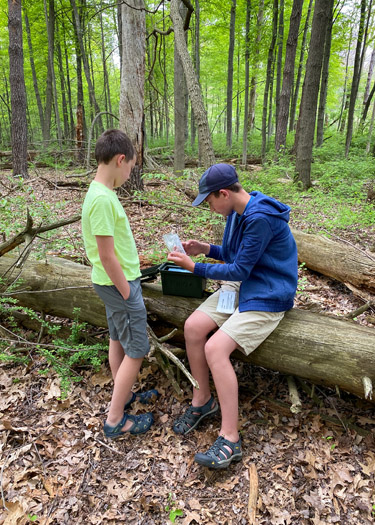 Two boys looking through a geocache at Oak Openings.
